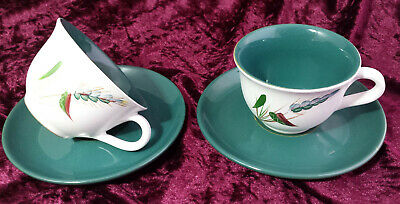 2 x Vintage Denby Greenwheat Cups & Saucers Duo Sets - Denby Greenwheat Spares