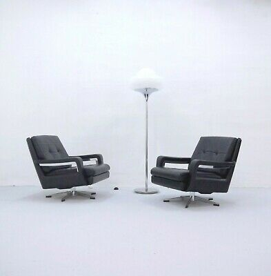 1of2 Vintage Mid Century 70s Black Leather Swivel Lounge Chair by Swiss Zueco