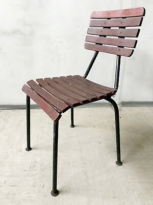 VINTAGE 50s 60s FRENCH GARDEN CHAIR WROUGHT IRON PAINTED WOOD