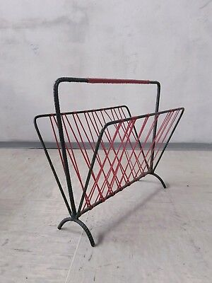 VINTAGE RETRO MID CENTURY 50s 60s WROUGHT IRON RUBBER MAGAZINE RACK STAND