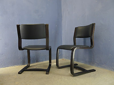 1of6 VINTAGE MODERNIST 60s 70s 80s BENTWOOD CHAIRS UPHOLSTERED IN BLACK VINYL