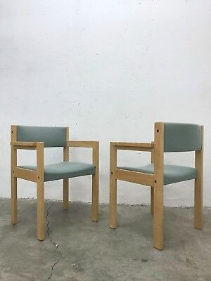1of4 Modernist 70s/80s Wooden Dining Chairs Turquoise Upholstery by Thereca
