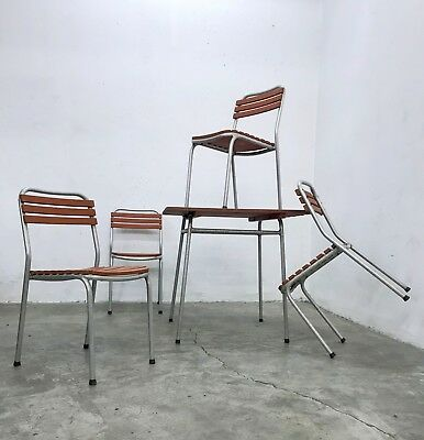 VINTAGE 1960s GARDEN BISTRO TERRACE SEATING SET METAL WOODEN TABLE WITH CHAIRS