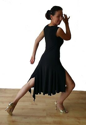 Stretchy Argentine Tango Practice Dress With Two Slits. Black