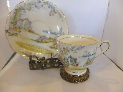 Vintage Royal Albert Rosedale Cup Saucer Beautiful Garden Gate Enamel Gold Trim