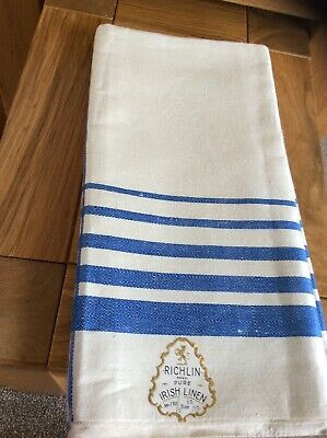"Vintage Richlin Irish Linen - Blue And White Table Cloth 52"" X 52"" New Unused"