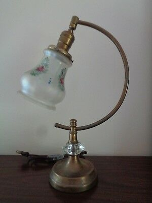 ANTIQUE BRASS FINISH DESK STUDENT TABLE HARP  LAMP  w  Hand Painted Glass Shade