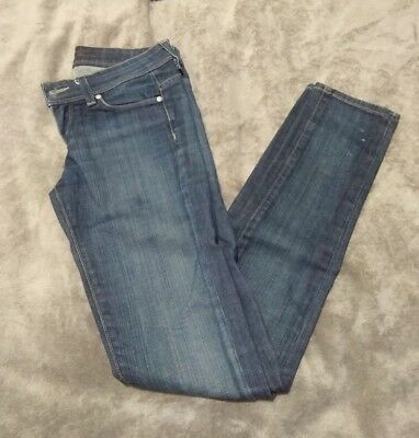 Womens Small Town Low Rise Skinny Dark Blue Jeans - Waist Size 26 - Made in USA