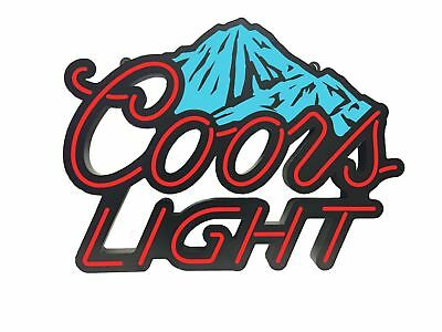 "28"" x 22"" COORS LIGHT BEER Blue Mountains NEON LED Sign MANCAVE BAR GARAGE"
