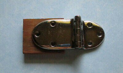 Vintage ice box hinge offset bright chrome plated with screws NOS