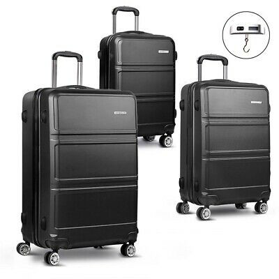 Wanderlite 3pc Hard Shell Case Luggage Suitcase Set TSA Lock Lightweight Black