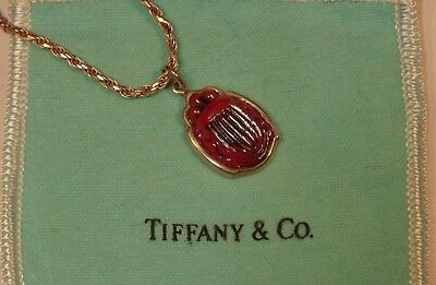 Rare Antique Red Signed Tiffany Favrile Art Glass Scarab Sterling Silver Pendant