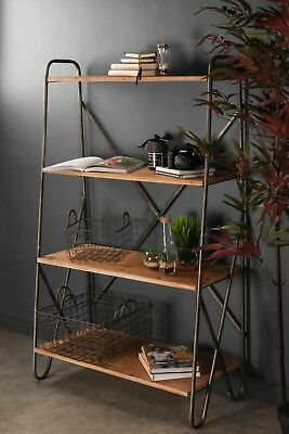 Display Shelf Vintage Industrial Style Metal Wood Shelving Bookcase Storage