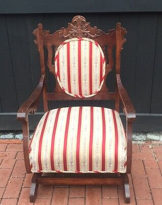 Victorian Platform Rocker Antique Upholstered Rocking Chair