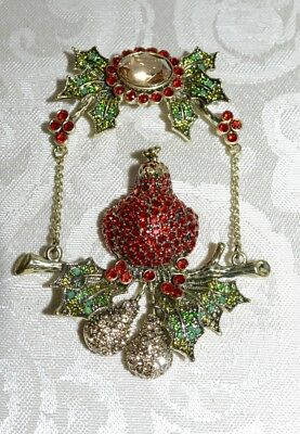 New $200 Heidi Daus Christmas Partridge In A Pear Tree Crystal Drop Brooch Pin