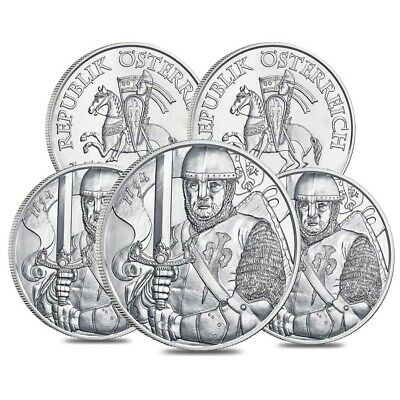 Lot of 5 - 2019 1 oz Austrian Silver Leopold V Coin BU - 825th Anniversary of