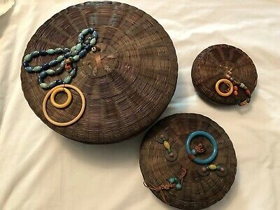 Vtg 3 Victorian Chinese Handwoven Round Sewing Baskets Coins,Beads,Tassels