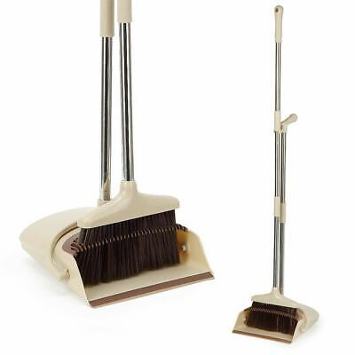 Broom And Dustpan Set, Premium Long Handle Broom With Dust Pan, Standing Upright