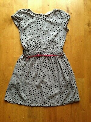 Girls H&M grey & black spotted dress with pink belt age 9-10 years spots