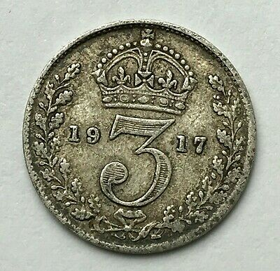 Dated : 1917 - Silver Coin - Threepence - 3d - King George V - Great Britain