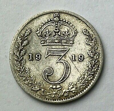 Dated : 1919 - Silver Coin - Threepence - 3d - King George V - Great Britain