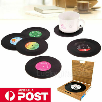 6PC Creative Vinyl Record Cup Drinks Coaster Holder Mat Home Placemat Tableware