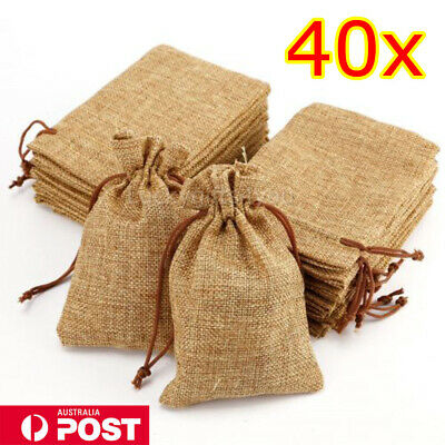 40x large Bag Natural Linen Pouch Drawstring Burlap Jute Sack Jewelry Gift Wed