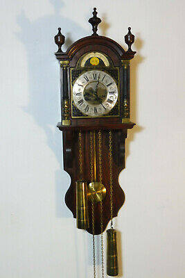 Old Dutch Wall Clock in Oak Wood Clock Vintage
