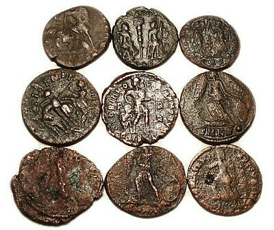 Lot of 9 Æ3-4 Ancient Roman Bronze Coins from III.-IV. Century