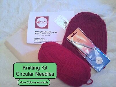 KNITTING KIT - Ribbed Hat / Beanie / Hat / Slouchy Hat - Circular Needles - RED