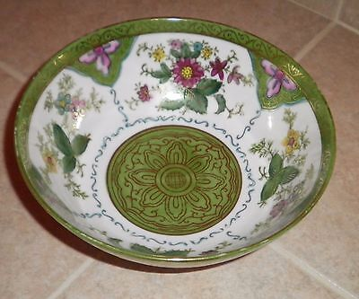 Rybeck Studios Wheeling West Virginia Vintage GREEN Floral/Gold Decorative Bowl