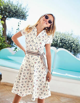 f963c106f17 New Boden Sophia Shirt Dress Bicycle Print Belted Sold Out dress 6 petite