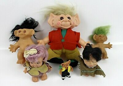 "6 Vintage 1960's Troll Dolls 4 1/2"" to 11 1/2"" Toy Figures With/Without Clothes"