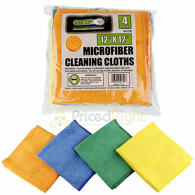"""4 Pack Microfiber Cleaning Cloths 12"""" x 12"""" Nonabrasive Cloth Grip Tools 54790"""