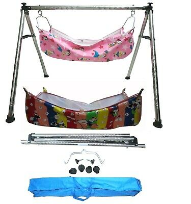 Baby Cradle, Cote, Swing fully folding Steel with two pc of cotton hammock KR199