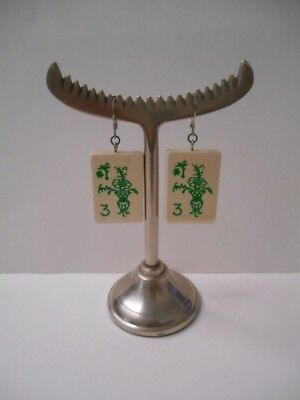 Hand Crafted by Me~(1) pair Lightweight Wooden Mah Jongg Tile Pierced Earrings