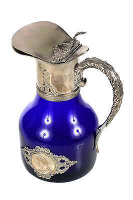 Antique Cobalt Blue French Ever w/elaborate Silver Plated Handle and top