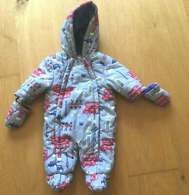 John Lewis Girls Snowsuit 0-3 Months With Mittens New London Theme