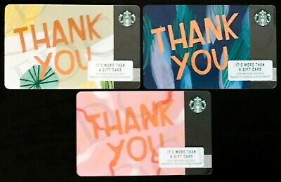 NEW Starbucks 2018 PLASTIC Blue Pink & Yellow Thank You Gift Card Series 6164