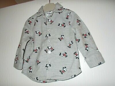 Primark Disney Baby Boys Grey Mickey Mouse Long Sleeved Shirt 9-12 Months Excel