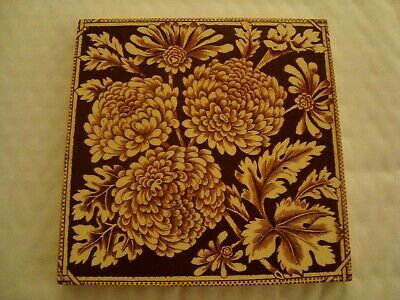 Antique tile with chrysanthemum flowers   20/39