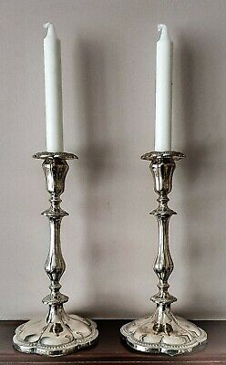SUPER PAIR OF ANTIQUE FINE QUALITY SILVER PLATE TALL CANDLESTICKS 27cm Candles
