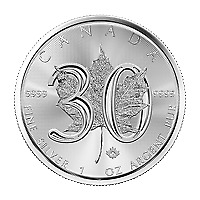 Lot of 10 x 1 oz 2018 Canadian Maple Leaf 30th Anniversary Silver Coin