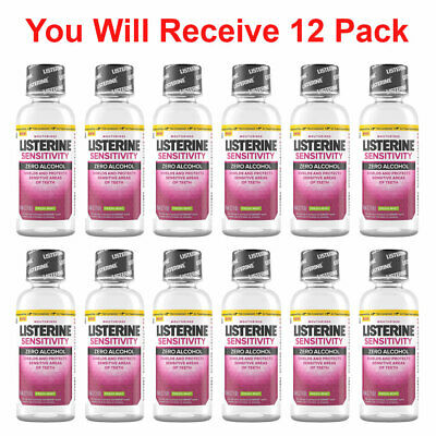 12x Listerine Mouthwash Sensitivity Zero Alcohol Fresh Mint Travel Size 3.2oz