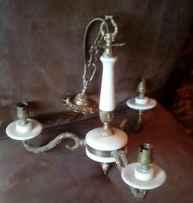 Lovely French Vintage Marble & Brass 3 Arm Chandelier