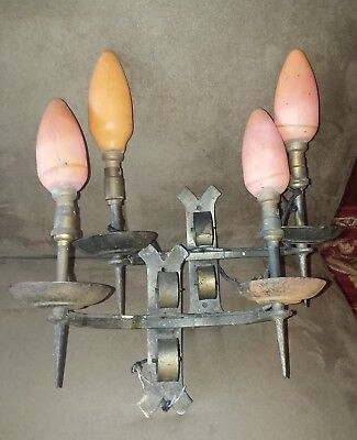 Pair Vintage French Gothic Spanish Medieval Iron Metal Wall Light Sconce