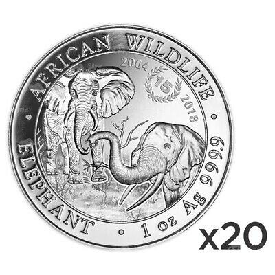 Lot of 20 x 1 oz 2018 Somalian African Elephant 15th Anniversary Silver Coin