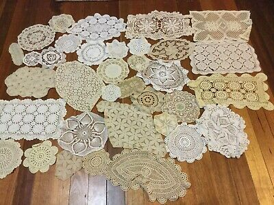 Lot 4 — Bulk Doilies Crocheted White Ecru Small - Medium Sizes 35 In Total