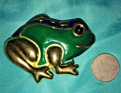 VINTAGE Big Frog  Gold tone  & Green Enamel Belt Buckle Signed Dotty Smith