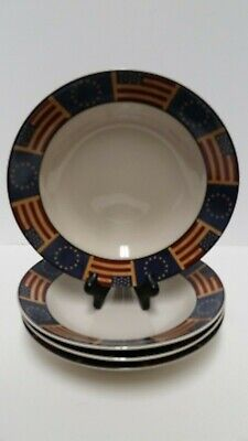 Coventry Stoneware Liberty American Flag Soup Pasta Bowls Set of 4